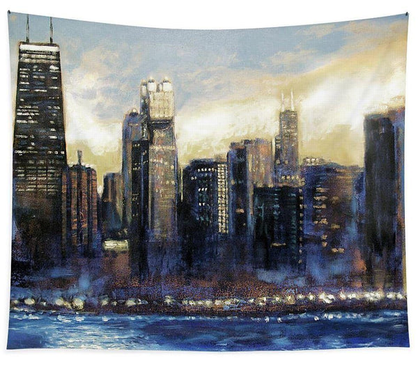Large Sunset Chicago Skyline Art Tapestry
