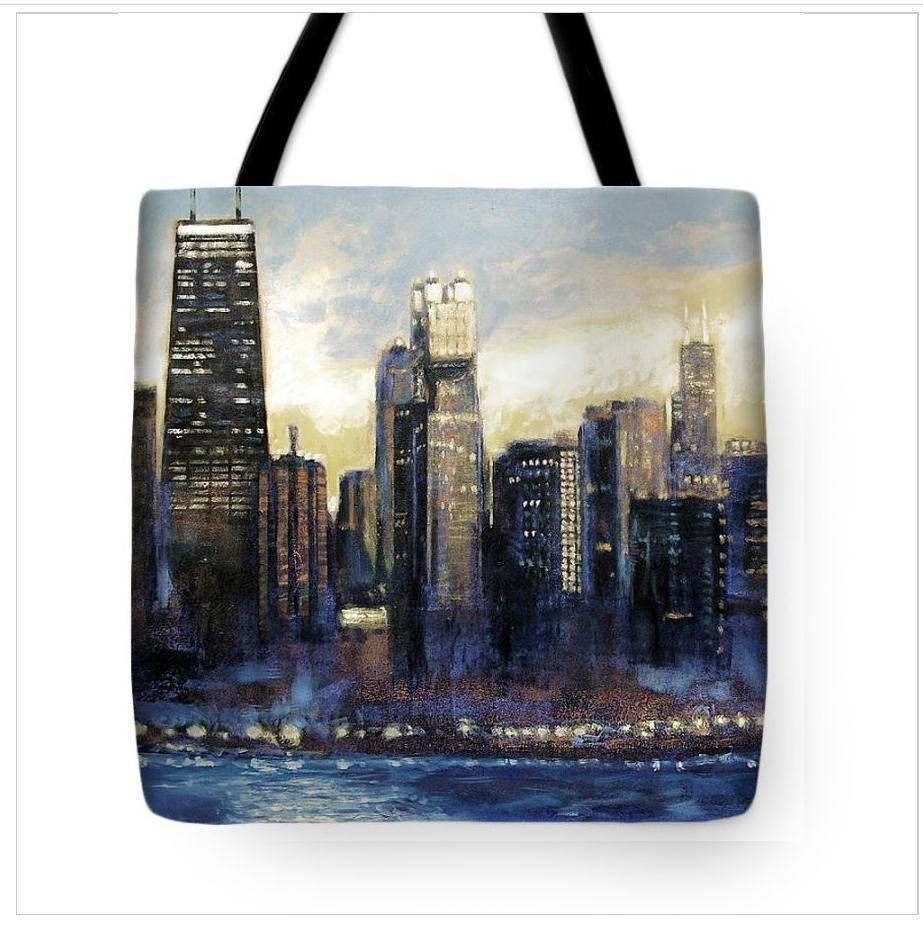 Sunset Chicago Skyline Art Tote Bag