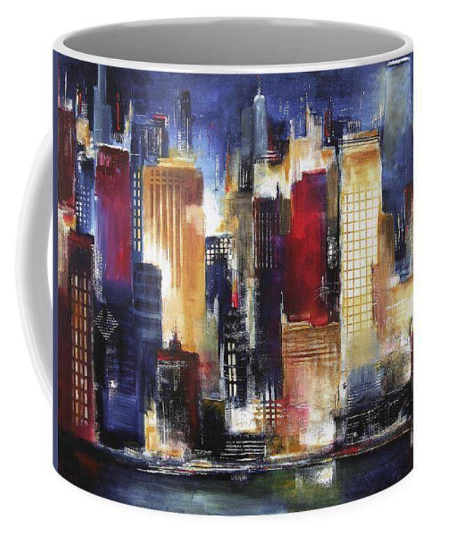 Chicago Skyline at Night Art Coffee Mug
