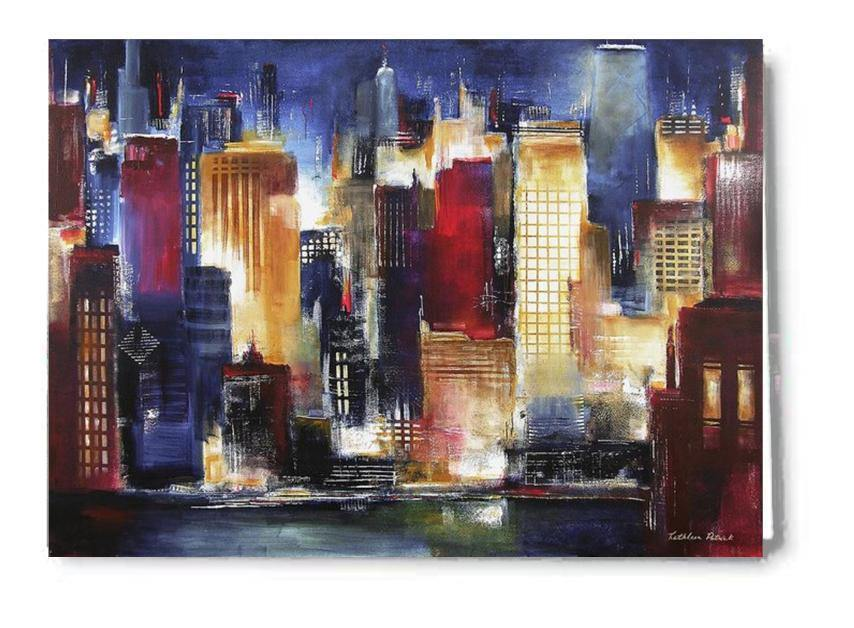 Chicago Skyline at Night Art Greeting Cards