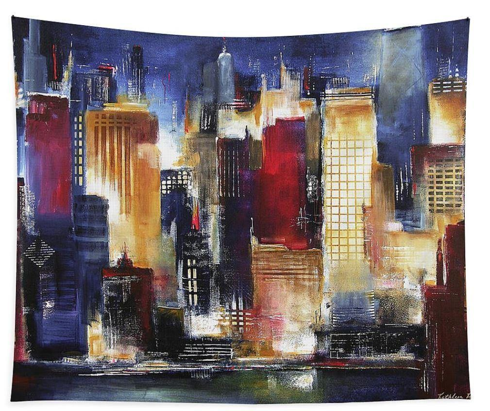Large Chicago Skyline at Night Art Tapestry