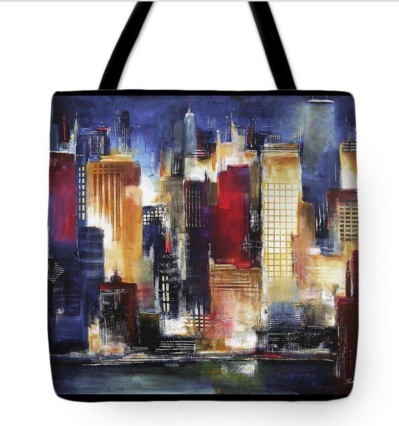 Chicago Skyline at Night Art Tote Bag