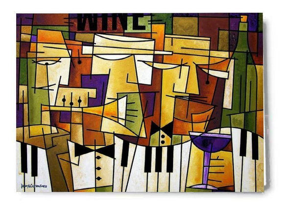 Wine and Music Art Greeting Cards