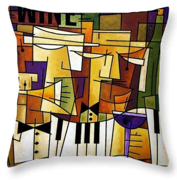 Wine and Music Art Throw Pillow