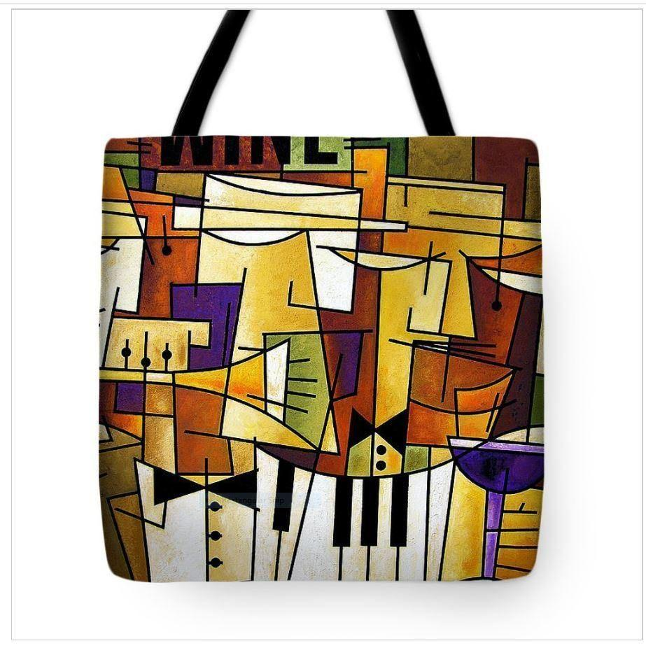 Wine and Music Art Tote Bag