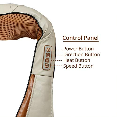 LLM63 Electric Neck, Shoulder and Back Massager with heat kneading nodes for pain and stress relief, Multifunctional with Adjustable Speed, Electric/Car Charging Mode (Brown)