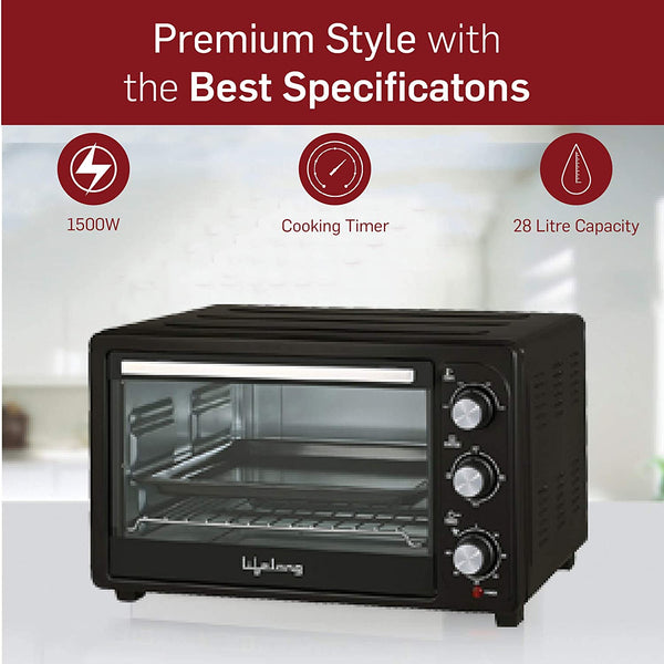 Lifelong 28L 1500-Watt Oven Toaster Griller, Black