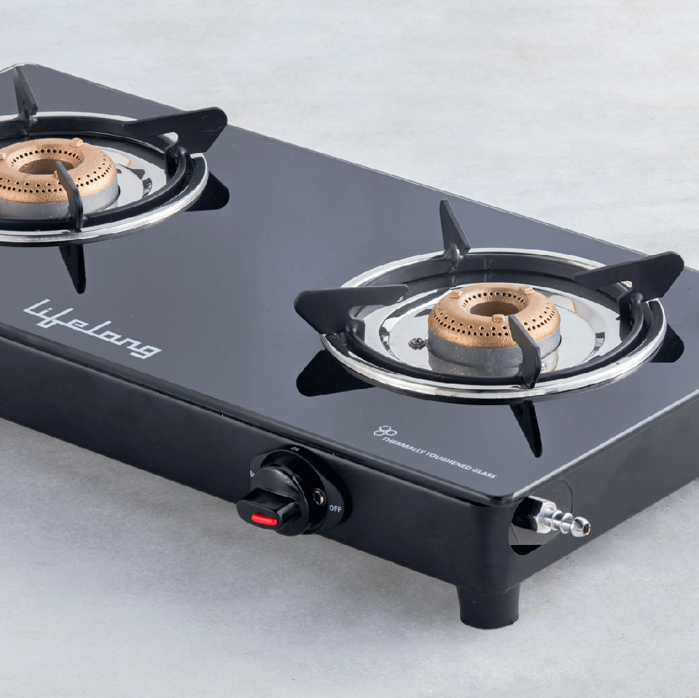 Glass Top 2 Burner Gas Stove (ISI Certified)