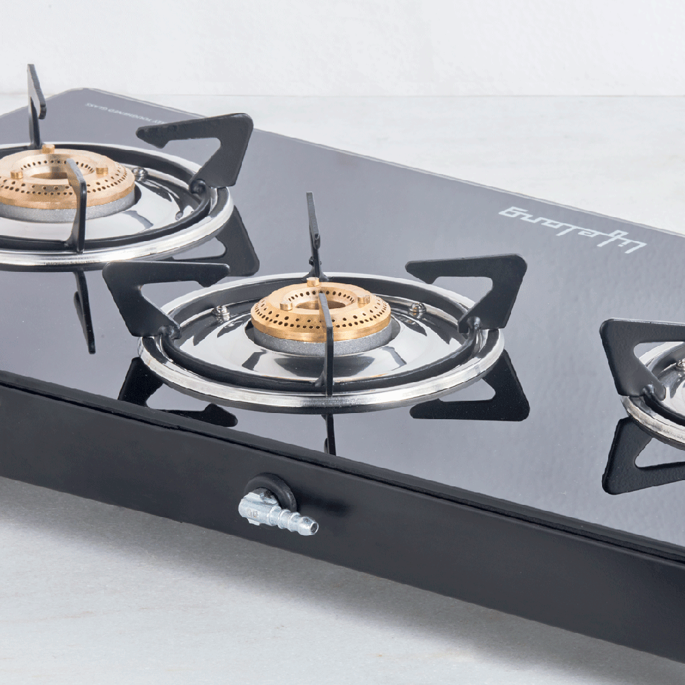 Glass Top Gas Stove, 3 Burner (ISI Certified)