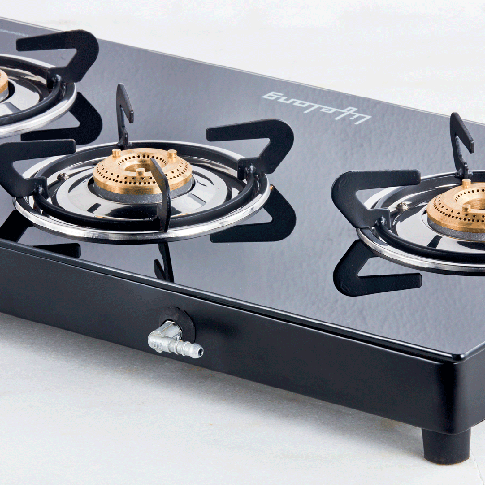 Glass Top Gas Stove, 3 Burner Gas Stove (ISI Certified)