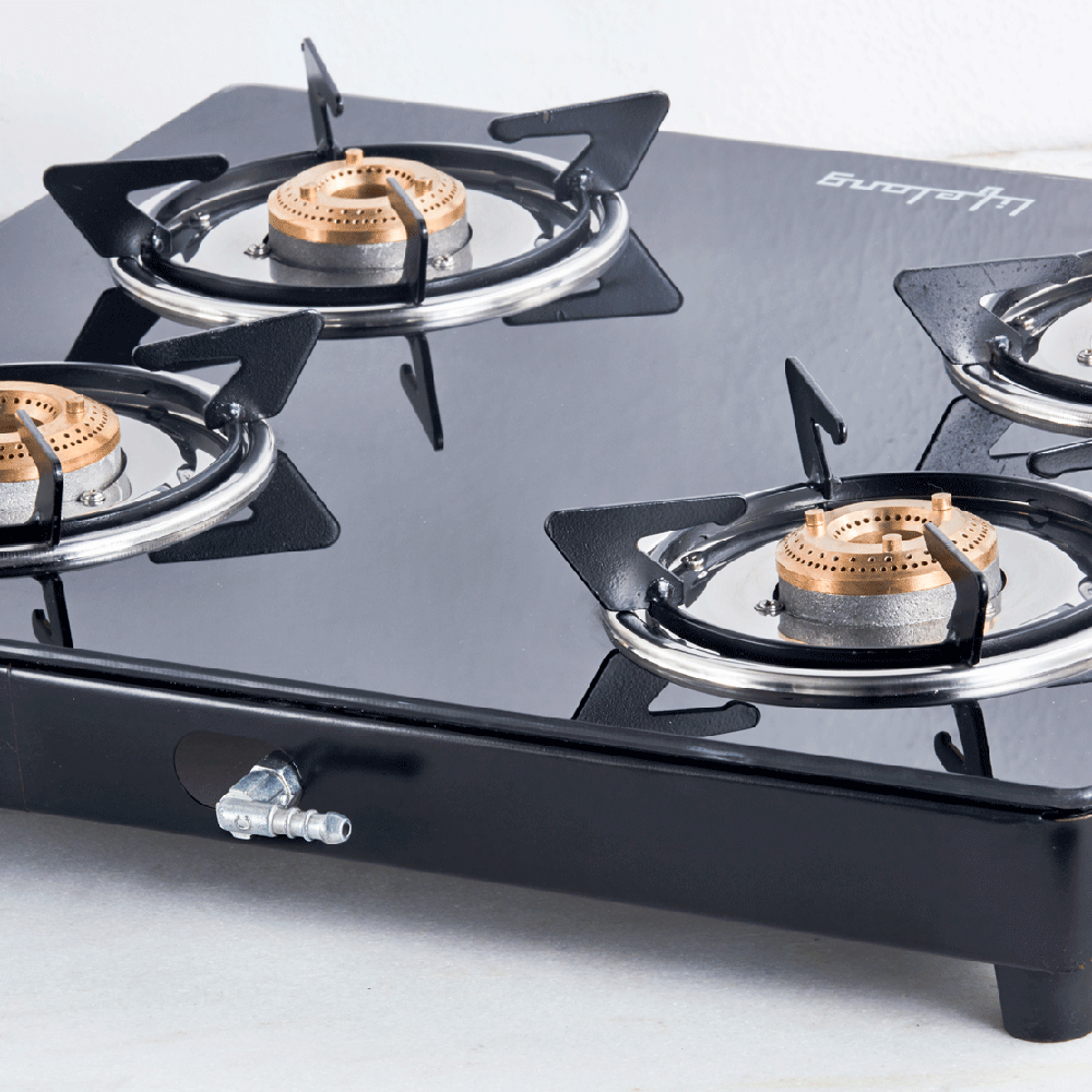 Glass Top Gas Stove, 4 Burner Gas Stove (ISI Certified)