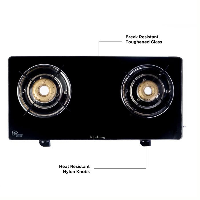 LLGS60 Glass Top 2 Burner Gas Stove