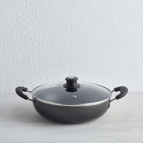 Non-Stick 2 Litre Kadhai With Glass Lid, 24 cm (Induction & Gas Compatible)