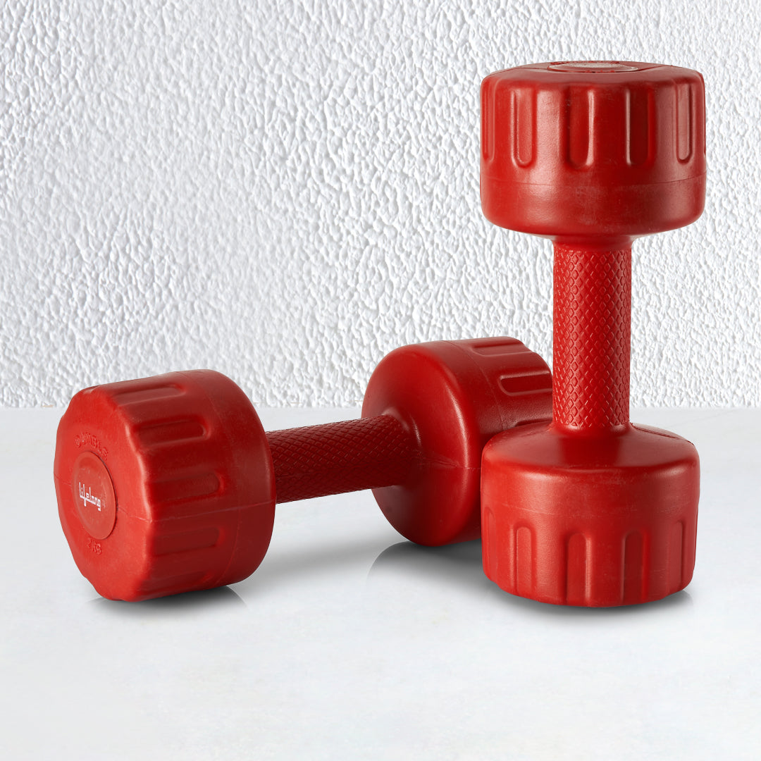 PVC Dumbbells 2 x 2=4kg Weights (Red Color) Fitness Home Gym Exercise Barbell (Pack of 2) Light for Women & Men's Dumbbell