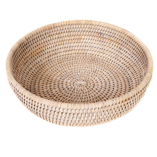 Rattan Bowl, White Wash