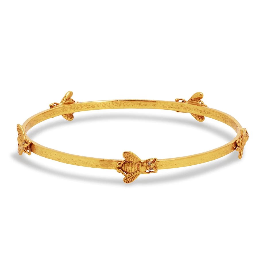 Julie Vos Gold Zircon Bee Bangle