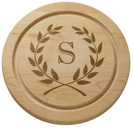 Monogrammed Round Maple Wood Board - Choose Your Initial