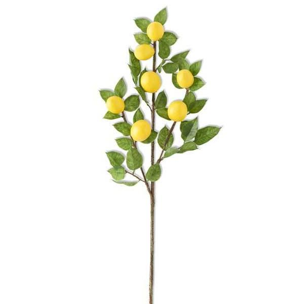 Faux Lemon & Foliage Spray Stem