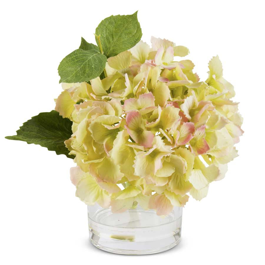 Green Real Touch Hydrangea in Glass Vase