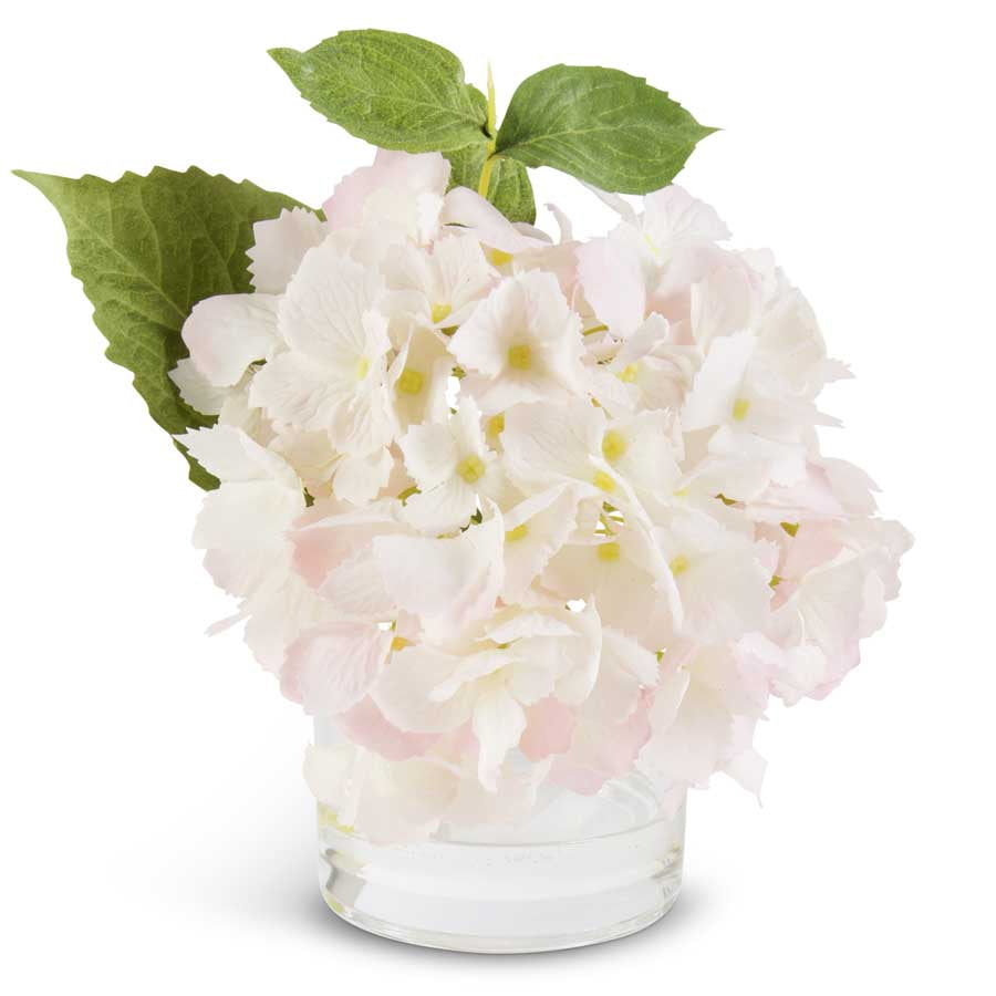 Pink Real Touch Hydrangea in Glass Vase