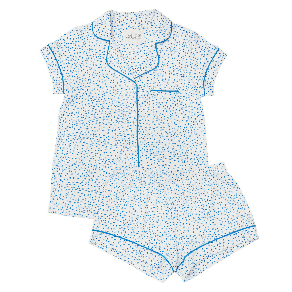 Confetti Dot Pima Knit Short Set, Blue