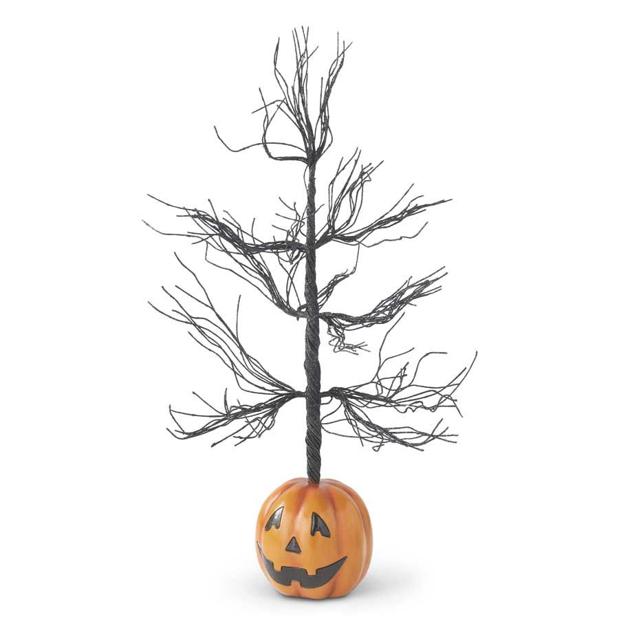Jack O Lantern Black Glittered Tree