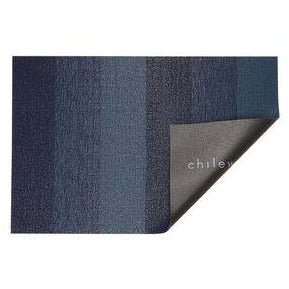 Chilewich Bay Blue Marbled Stripe Shag Door Mat
