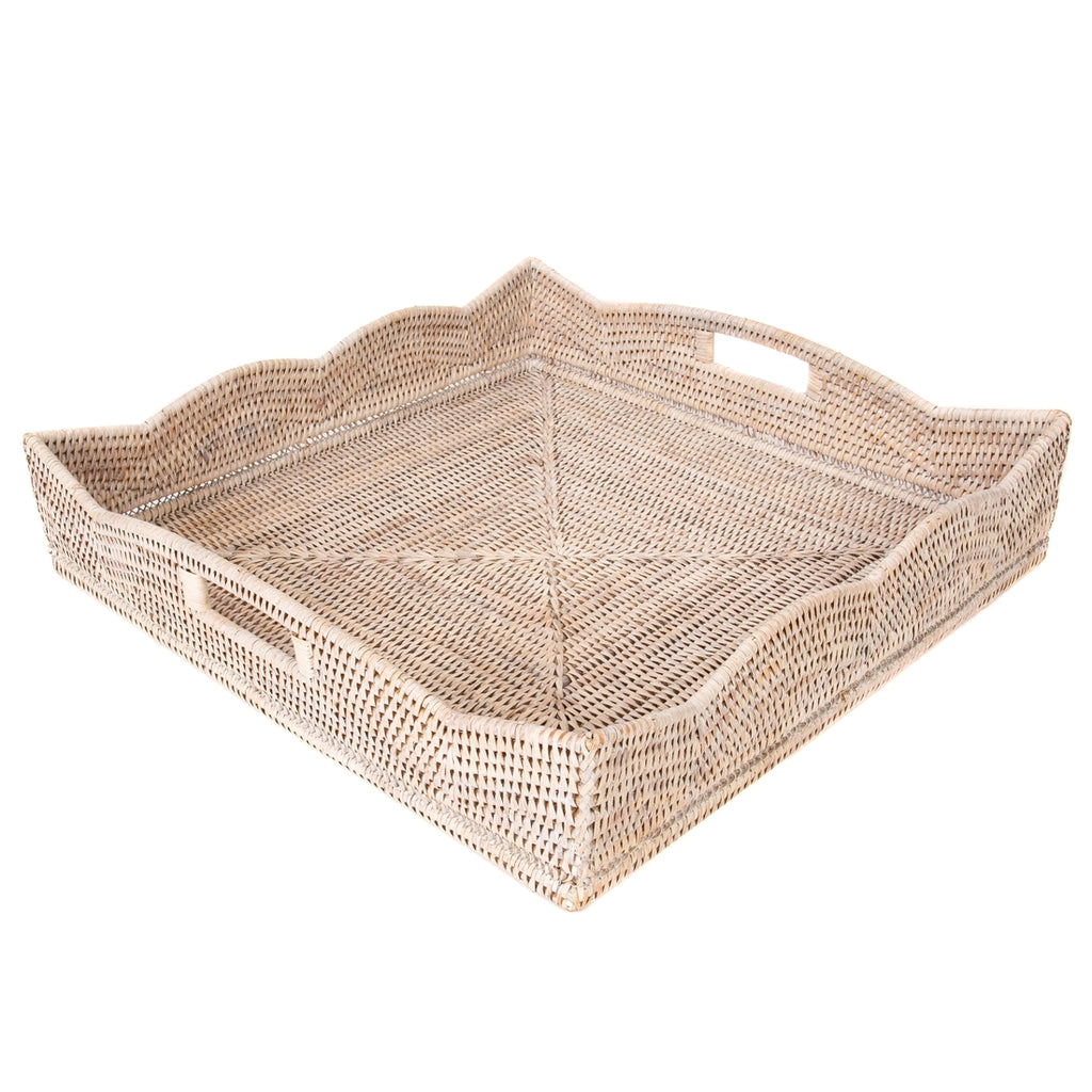 White Wash Rattan Scalloped Square Tray, Large