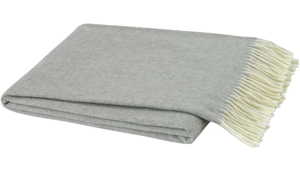 Italian Herringbone Light Gray Throw Blanket