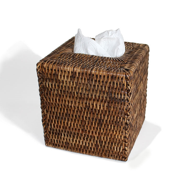 Rattan Square Tissue Box, Antique Brown