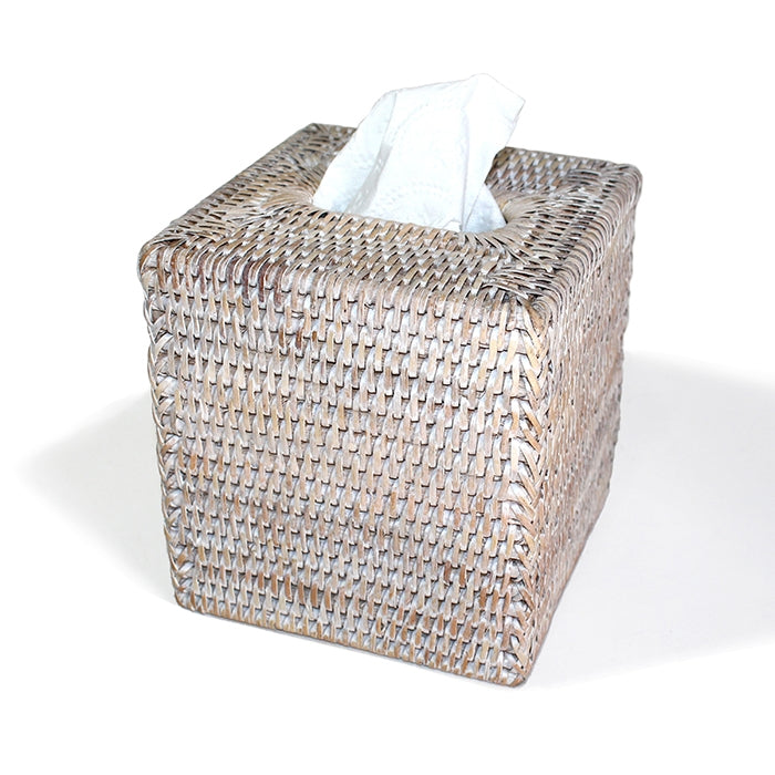 Rattan Square Tissue Box, White Wash