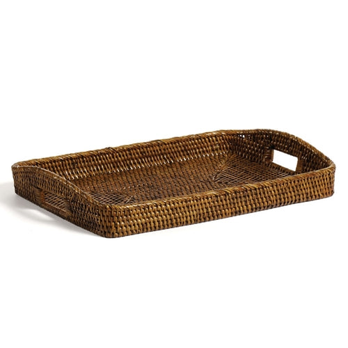 Rattan Rectangular Tray, Antique Brown