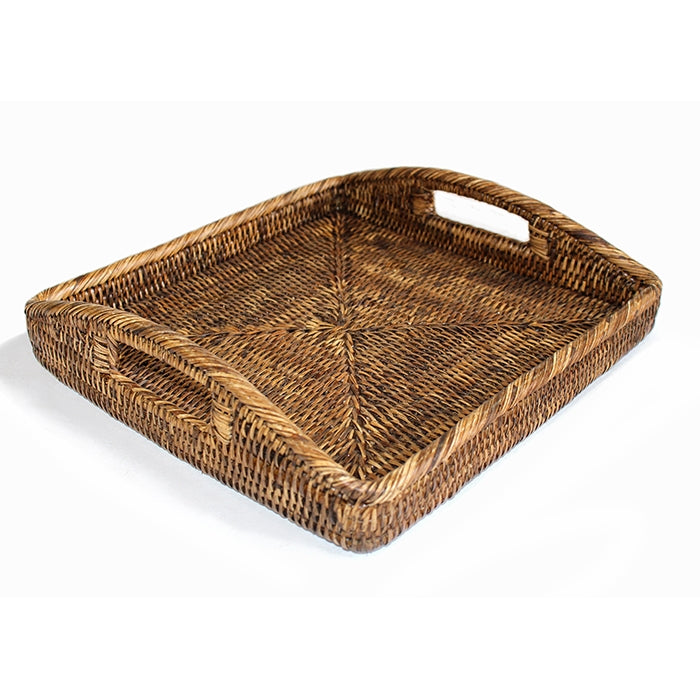 Rattan Square Morning Tray, Antique Brown