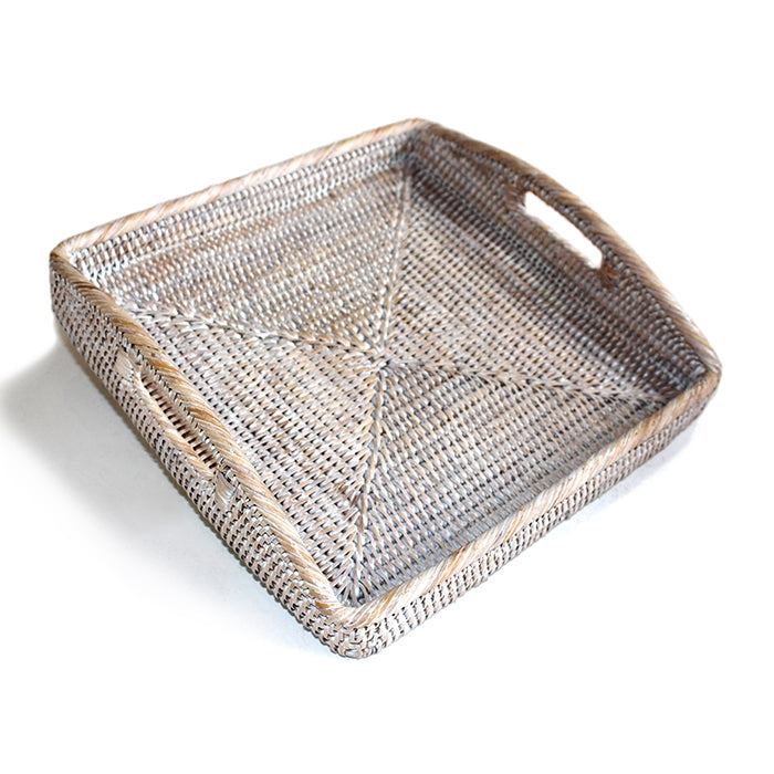 Rattan Square Morning Tray, White Wash