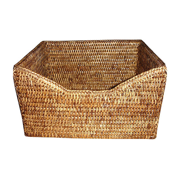Rattan Paper Basket, Antique Brown