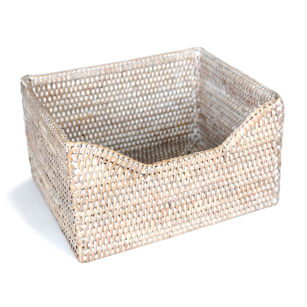 Rattan Paper Basket, White Wash