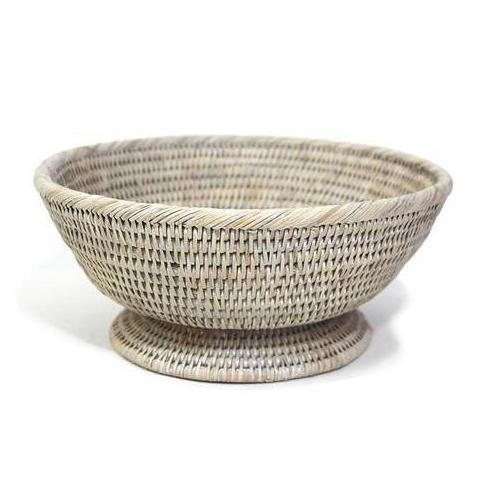 White Wash Rattan Round Basket / Bowl