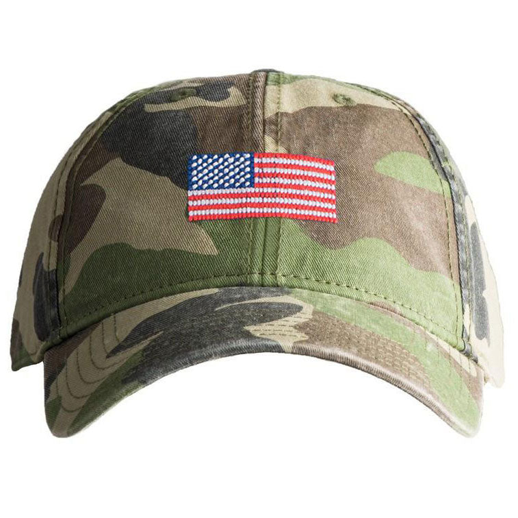 Camouflage American Flag Needlepoint Hat