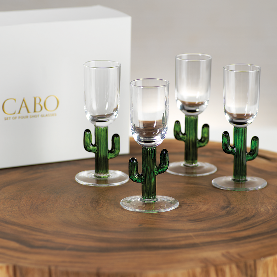 Cabo Cactus Shot Glasses, Green
