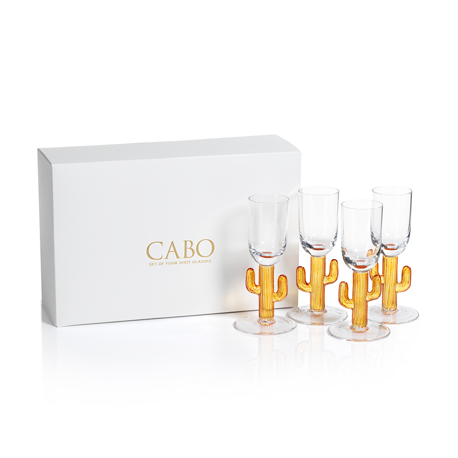 Cabo Cactus Shot Glasses, Amber