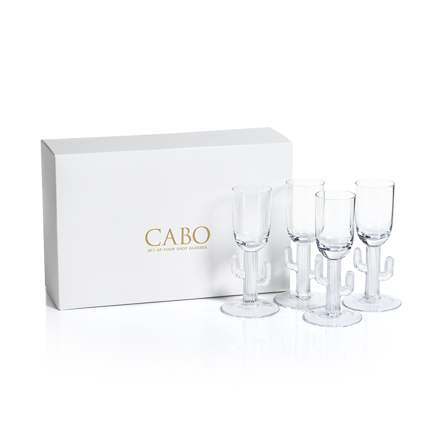 Cabo Cactus Shot Glasses, Clear