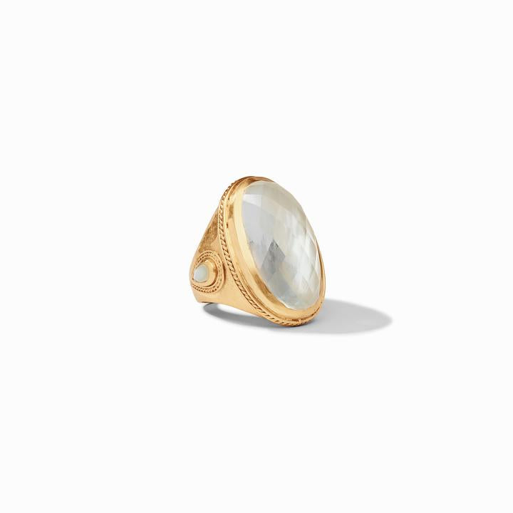Julie Vos Cassis Statement Ring, Iridescent Clear Crystal
