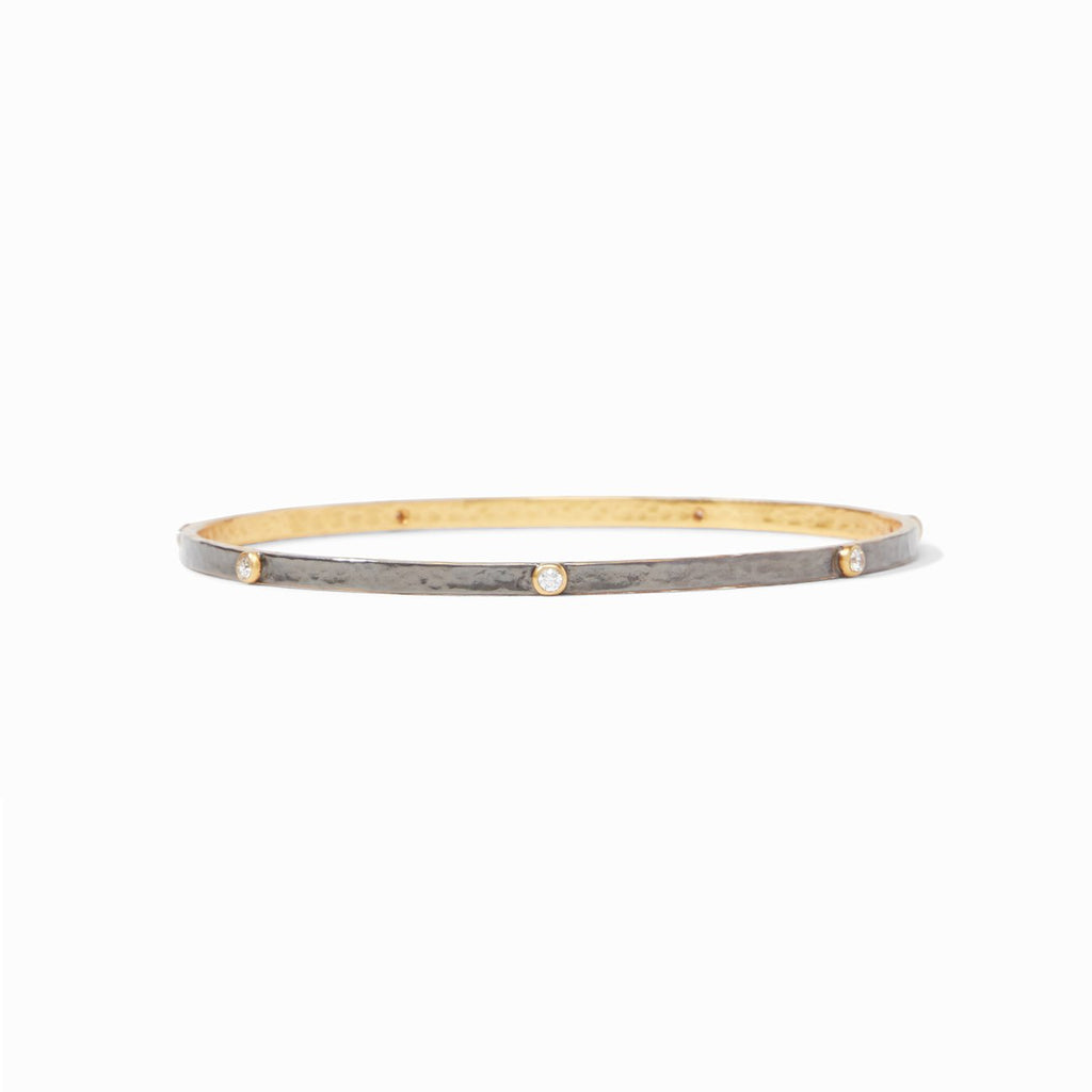 Julie Vos Crescent Bangle Mixed Metal Zircon