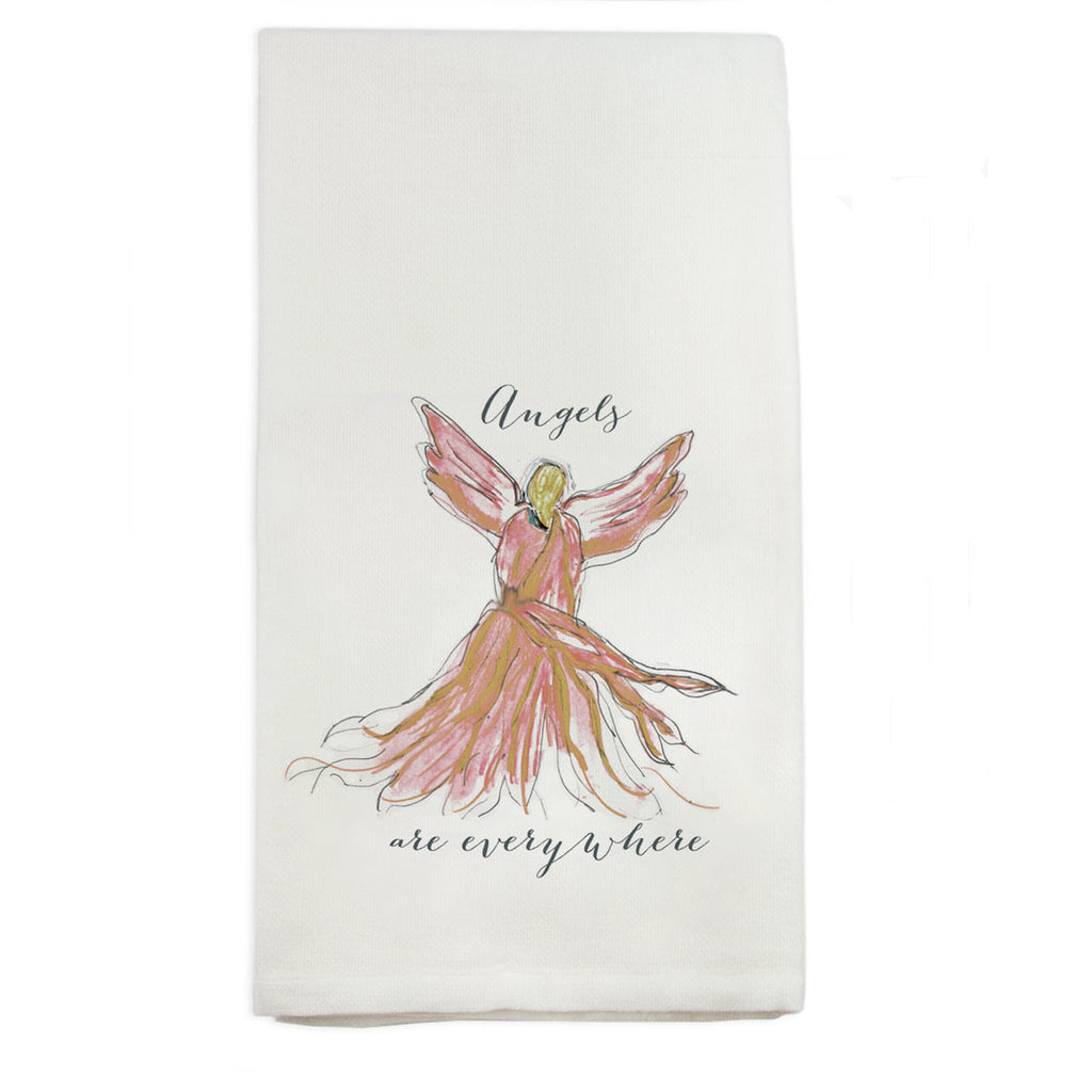 Angels Are Everywhere Tea Towel, Pink