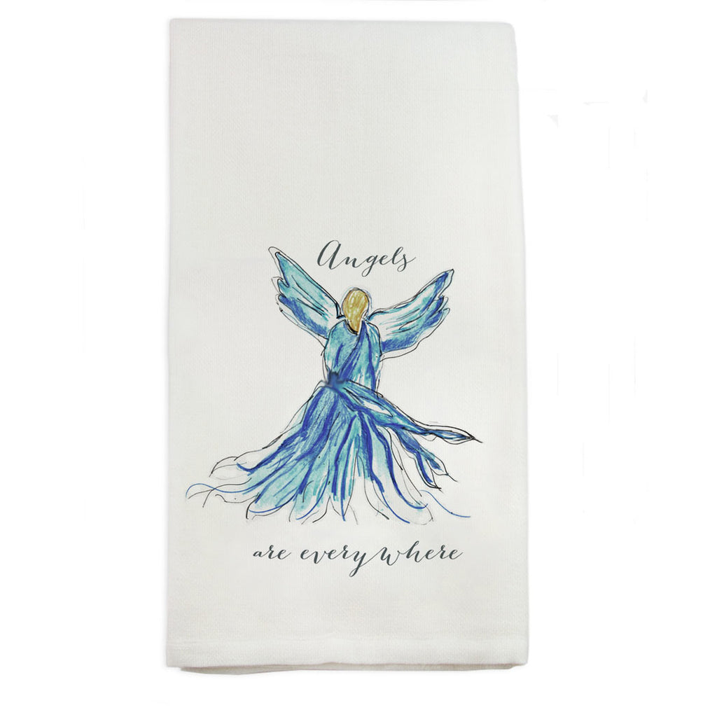 Angels Are Everywhere Tea Towel, Blue