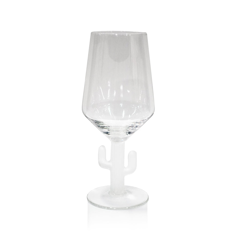 Cabo Cactus Wine Glass, Frost