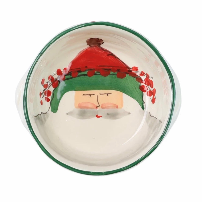 VIETRI Old St. Nick Small Handled Round Baker