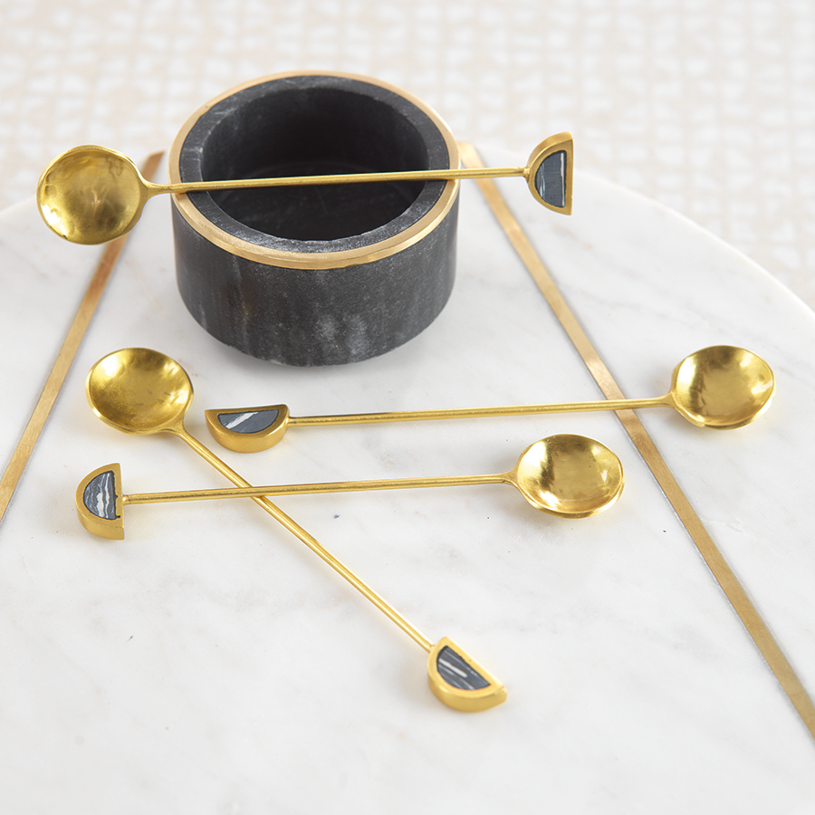 Gold & Black Fez Small Tea Spoons