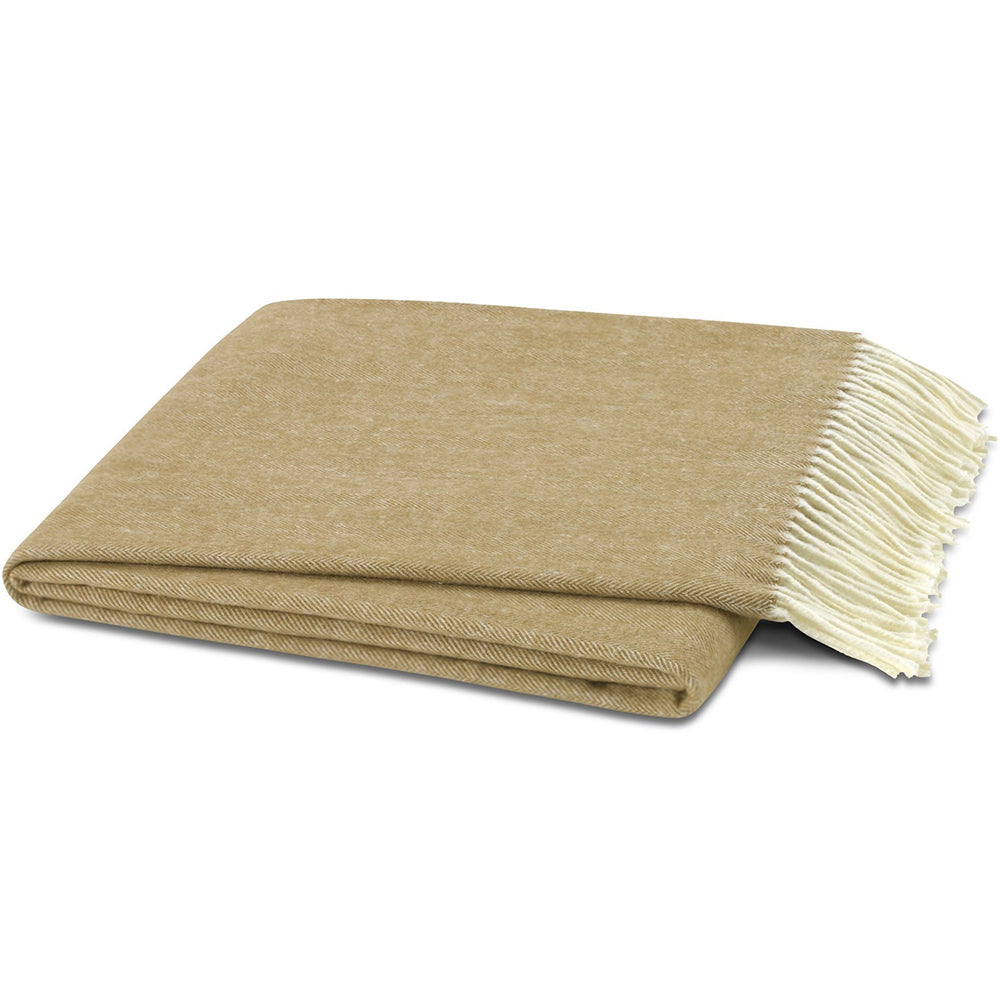 Italian Herringbone Camel Throw Blanket