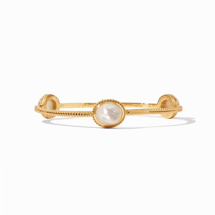 Julie Vos Calypso Medium Gold Bangle, Iridescent Clear